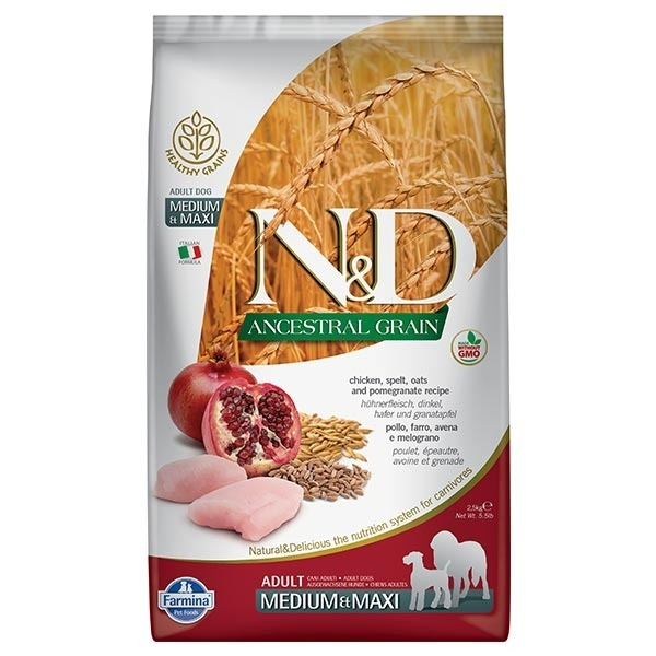 FARMINA NED ANCESTRAL GRAIN ADULT MEDIUM& MAXI CANE POLLO E MELOGRANO