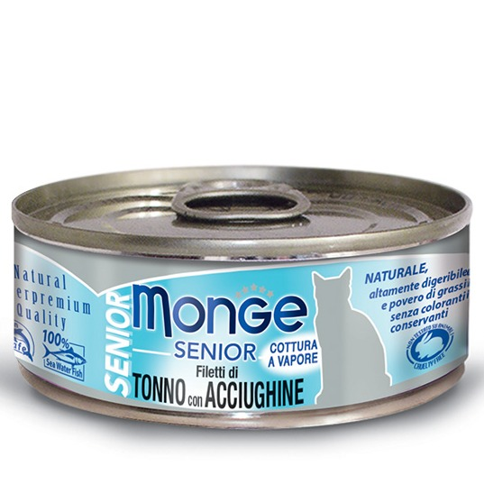 monge gatto jelly senior tonno e acciughine 80 g
