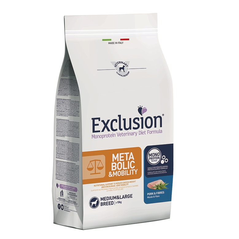 EXCLUSION DIET METABOLIC & MOBILITY PORK AND FIBRES MEDIUM&LARGE BREED 12KG