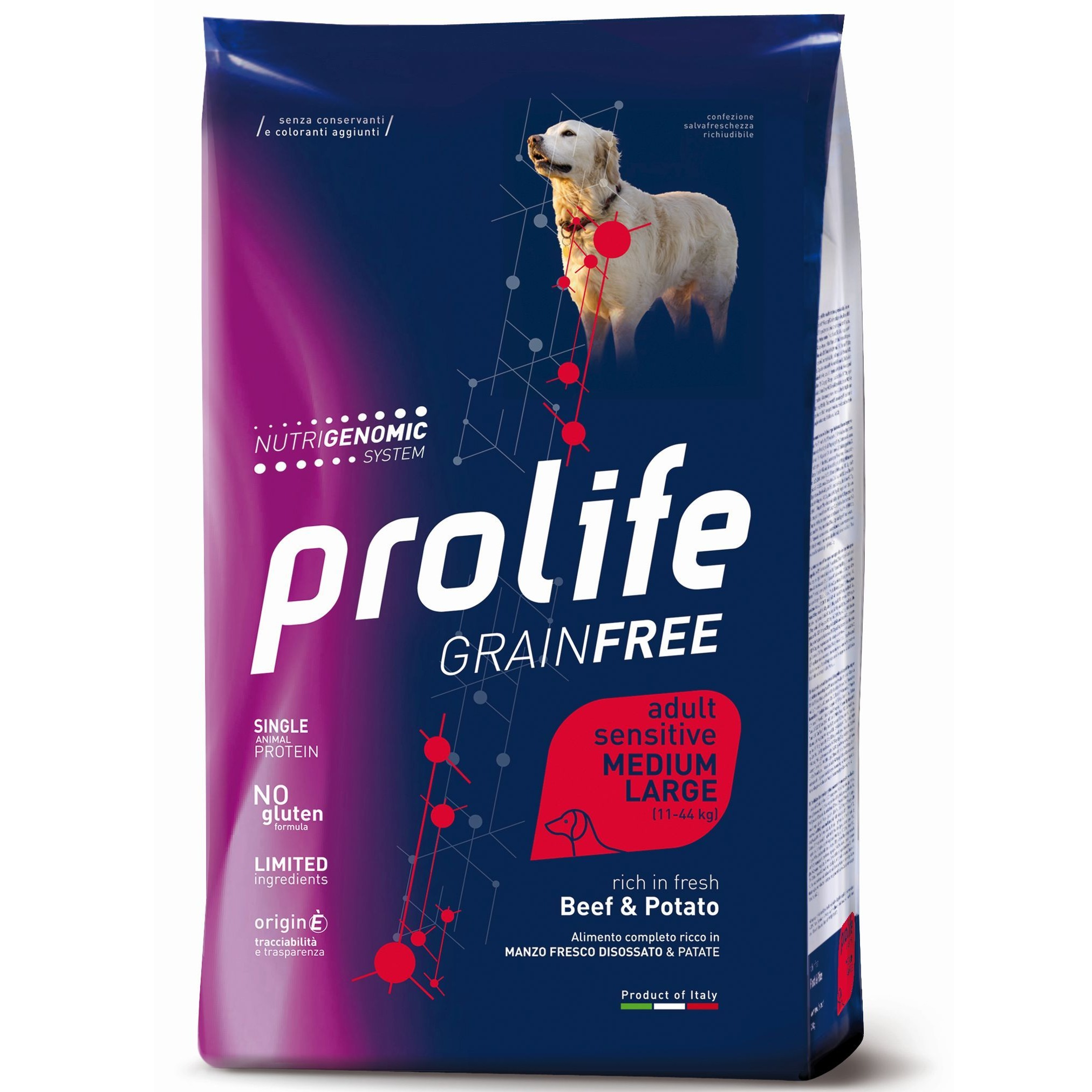 PROLIFE CANE ADULT GRAINFREE MEDIUM/LARGE BEEF &POTATO